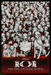 2c005 101 DALMATIANS Thanksgiving style teaser 1sh '96 Walt Disney live action, dogs in theater!