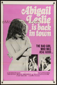 2c012 ABIGAIL LESLIE IS BACK IN TOWN 1sh '75 Joe Sarno, sexy topless Jennifer Jordan!