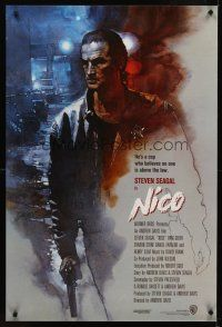 2c013 ABOVE THE LAW int'l 1sh '88 great artwork of Steven Seagal as Nico!