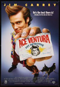 2c014 ACE VENTURA PET DETECTIVE 1sh '94 Jim Carrey tries to find Miami Dolphins mascot!