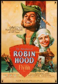 2c019 ADVENTURES OF ROBIN HOOD 1sh R89 Errol Flynn as Robin Hood, De Havilland, Rodriguez art!