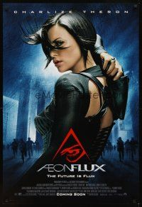2c021 AEON FLUX advance DS 1sh '05 sexy futuristic Charlize Theron in leather!