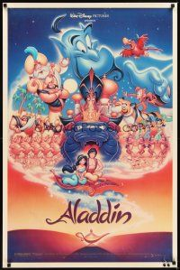 2c025 ALADDIN DS 1sh '92 classic Walt Disney Arabian fantasy cartoon, image of entire cast!