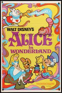 2c026 ALICE IN WONDERLAND 1sh R81 Walt Disney Lewis Carroll classic, cool psychedelic art!