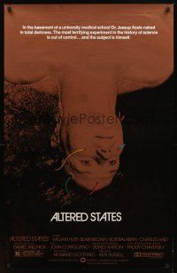 2c033 ALTERED STATES foil 1sh '80 William Hurt, Paddy Chayefsky, Ken Russell, sci-fi horror!