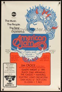 2c035 AMERICAN JAM 1sh '70s ABC music concert, cool artwork, Jimmy Buffett!