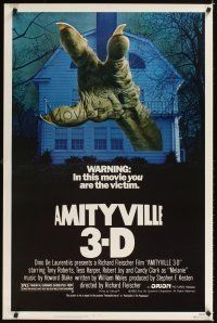 2c037 AMITYVILLE 3D 1sh '83 cool 3-D image of huge monster hand reaching from house!