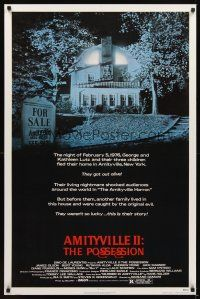 2c038 AMITYVILLE II 1sh '82 The Possession, cool image of haunted house!