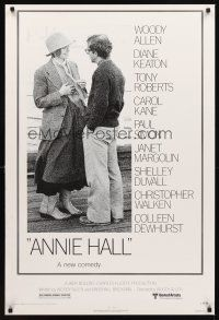 2c041 ANNIE HALL revised 1sh '77 full-length Woody Allen & Diane Keaton, a new comedy!