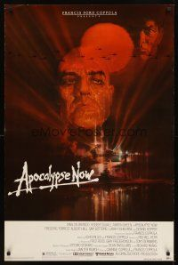 2c042 APOCALYPSE NOW 1sh '79 Francis Ford Coppola, Bob Peak art of Brando & Sheen!