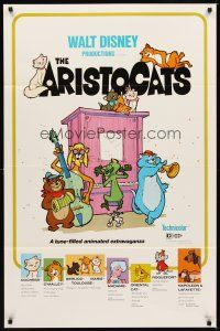 2c043 ARISTOCATS 1sh R80 Walt Disney feline jazz musical cartoon, great art of dancing cats!