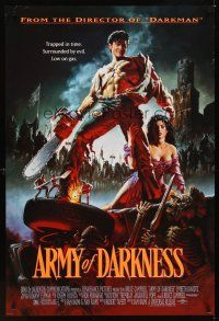 2c044 ARMY OF DARKNESS DS 1sh '93 Sam Raimi, great artwork of Bruce Campbell with chainsaw hand!