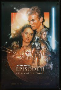 2c049 ATTACK OF THE CLONES style B 1sh '02 Star Wars Episode II, Drew art of Christensen & Portman!