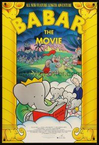 2c051 BABAR: THE MOVIE 1sh '89 cool art of classic cartoon elephants!