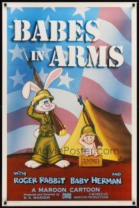 2c052 BABES IN ARMS Kilian 1sh '88 Roger Rabbit & Baby Herman in Army uniform with rifles!