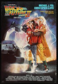2c053 BACK TO THE FUTURE II 1sh '89 art of Michael J. Fox & Christopher Lloyd by Drew!