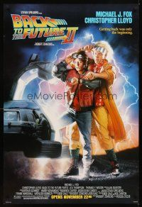 2c054 BACK TO THE FUTURE II advance DS 1sh '89 art of Michael J. Fox & Christopher Lloyd by Drew!