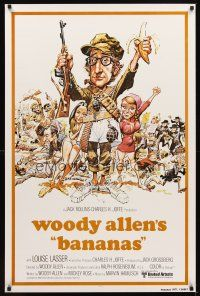 2c057 BANANAS int'l 1sh R80 great artwork of Woody Allen by E.C. Comics artist Jack Davis!