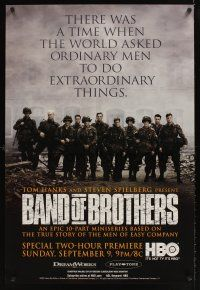 2c058 BAND OF BROTHERS TV advance 1sh '01 Damian Lewis & Donnie Wahlberg in WWII!