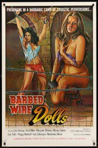 2c060 BARBED WIRE DOLLS 1sh '75 Jesus Franco, art of sexy near-naked female prisoners!