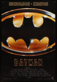 2c065 BATMAN 1sh '89 directed by Tim Burton, cool image of Bat logo!
