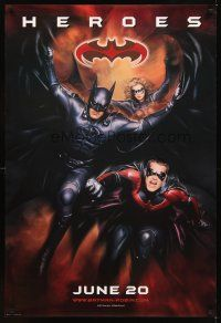 2c064 BATMAN & ROBIN advance DS 1sh '97 heroes George Clooney, O'Donnell & Silverstone!