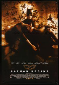 2c066 BATMAN BEGINS advance DS 1sh '05 Bale as Caped Crusader carrying Katie Holmes!