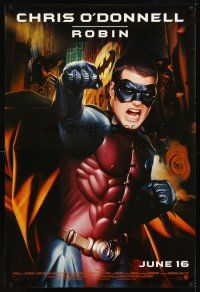 2c067 BATMAN FOREVER advance DS 1sh '95 cool image of angry Chris O'Donnell as Robin!