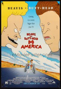2c073 BEAVIS & BUTT-HEAD DO AMERICA advance DS 1sh '96 Mike Judge MTV cartoon!