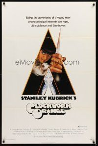 2c001 CLOCKWORK ORANGE x-rated 1sh '72 Stanley Kubrick classic, Castle art of Malcolm McDowell
