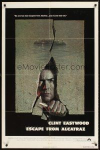 2j324 ESCAPE FROM ALCATRAZ 1sh '79 cool artwork of Clint Eastwood busting out by Lettick!