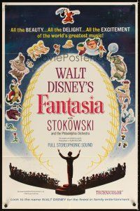 2j338 FANTASIA 1sh R63 great image of Mickey Mouse & others, Disney musical cartoon classic!