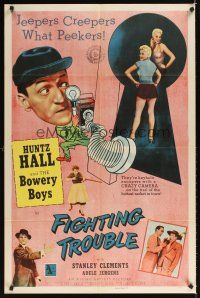 2j346 FIGHTING TROUBLE 1sh '56 Huntz Hall & the Bowery Boys, jeepers creepers what peekers!