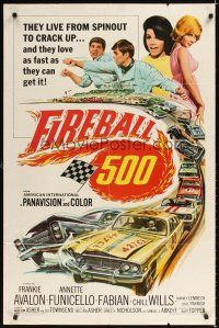 2j348 FIREBALL 500 1sh '66 race car driver Frankie Avalon & sexy Annette Funicello!