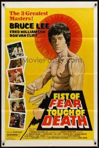 2j352 FIST OF FEAR TOUCH OF DEATH 1sh '80 Tierney art of Bruce Lee, + Fred Williamson, Van Clief!