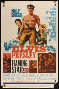 2j355 FLAMING STAR 1sh '60 Elvis Presley playing guitar & close up with rifle, Barbara Eden
