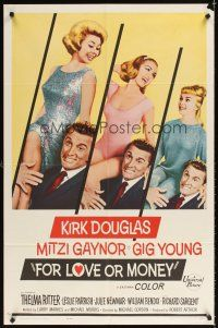 2j366 FOR LOVE OR MONEY 1sh '63 Kirk Douglas carries sexy Mitzi Gaynor, Thelma Ritter!