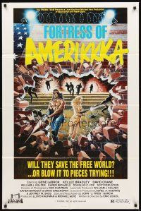 2j368 FORTRESS OF AMERIKKKA 1sh '89 Troma, wild artwork, will they save the free world!