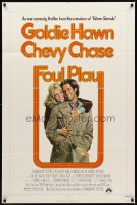 2j369 FOUL PLAY 1sh '78 wacky Lettick art of Goldie Hawn & Chevy Chase, screwball comedy!