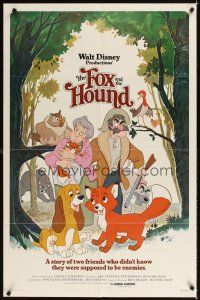 2j370 FOX & THE HOUND 1sh '81 two friends who didn't know they were supposed to be enemies!