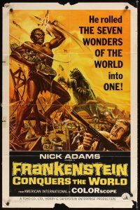 2j374 FRANKENSTEIN CONQUERS THE WORLD 1sh '66 Toho, art of monsters terrorizing by Reynold Brown!