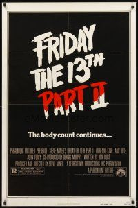 2j375 FRIDAY THE 13th PART II advance teaser 1sh '81 slasher horror sequel, body count continues!