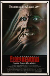 2j376 FROM BEYOND 1sh '86 H.P. Lovecraft, wild sci-fi horror image, humans are such easy prey!
