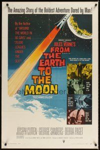 2j377 FROM THE EARTH TO THE MOON 1sh '58 Jules Verne's boldest adventure dared by man!