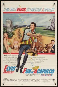 2j378 FUN IN ACAPULCO 1sh '63 Elvis Presley in fabulous Acapulco, Mexico sexy Ursula Andress!