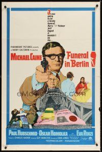2j379 FUNERAL IN BERLIN 1sh '67 cool art of Michael Caine pointing gun, directed by Guy Hamilton!