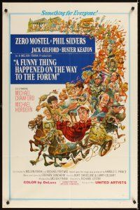 2j380 FUNNY THING HAPPENED ON THE WAY TO THE FORUM 1sh '66 wacky image of Zero Mostel & cast!