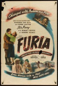 2j381 FURIA 1sh '48 Rossano Brazzi ruined by warm sultry lips & desire that murdered a man!