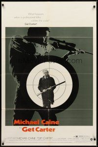2j382 GET CARTER 1sh '71 great image of Michael Caine holding gun in assassin's scope!
