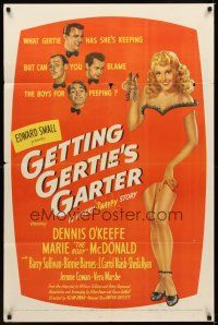 2j384 GETTING GERTIE'S GARTER 1sh '45 you can't blame boys peeping at Marie The Body McDonald!